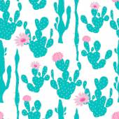 Seamless Pattern with Cactus — Stock Vector