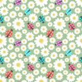 Seamless ladybug wallpaper pattern — Stock Vector