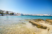 Sunny Beach in the Famous Mykonos Island, Greece. — Stock Photo