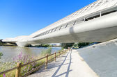 Bridge Pavilion in Zaragoza on 16, May 2013. It is an innovative 280-metre-long covered bridge, was built in 2008 for the international EXPO — Foto Stock