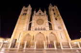 Leon cathedral at night, Leon, Spain. — Stock Photo