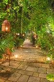 Beautiful garden path at night. — Zdjęcie stockowe