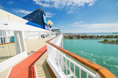 Scenic view of the main deck of a cruise ship from Norwegian cruise line. — Stock Photo