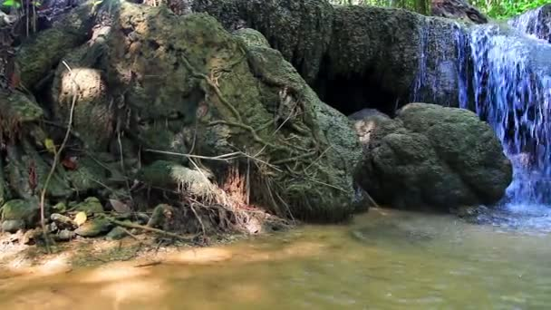 HD PAN SHOT: Beautiful waterfall in forest. — Vidéo