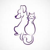 Sketchy cat and dog — Stock Vector