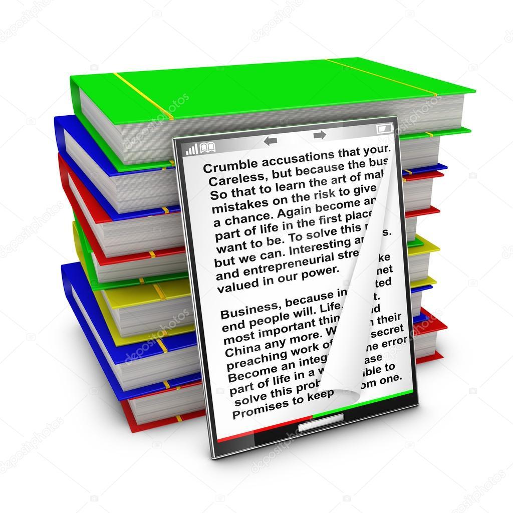 五彩��f�x�_现代平板电脑里面背景上带有文本的五彩斑斓的图书— photo by rommma