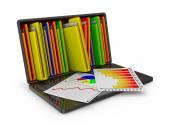 Laptop with folders — Stock Photo