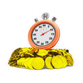 Stopwatch on coins — Stock Photo