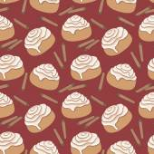 Seamless pattern with cinnamon rolls and sticks of cinnamon. — Stock Vector