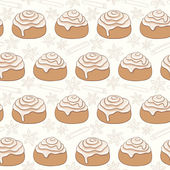 Seamless pattern with cinnamon rolls and spice. — Stock Vector
