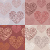 Set of 4 seamless patterns with ornate hearts. Marsala color variations. — Stock Vector