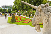 Unicorn and Mirabell  Gardens in Sazburg — Stock Photo