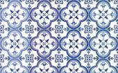 Traditional ornate portuguese tiles azulejos. Vector illustration. 4 color variations in blue. — Stock Vector