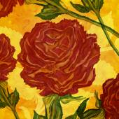 Monumental red roses hand drawn design. — Stock Photo