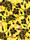 Floral graphic on a yellow backdrop. — Fotografia Stock