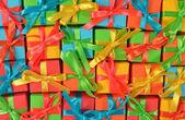 Üstten Görünüm renkli hediyeler — Stok fotoğraf