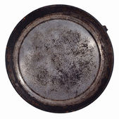 Dirty old frying pan on a white — Stock Photo