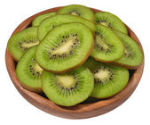 Sliced kiwi fruit in a wooden bowl on a white — ストック写真