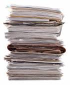 Zásobník starých časopisů na bílé — Stock fotografie