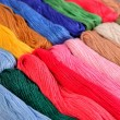Colorful skeins of floss as background texture — Stock Photo #75027513