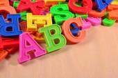 Colored plastic alphabet letters ABC — Stock Photo