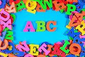 Plastic colored alphabet letters ABC — Stock Photo