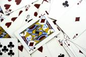 Background of cards with Jack card on the top — Stock Photo