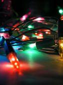 Christmas lights dekoration på mörk bakgrund — Stockfoto