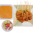 Beef Satay with Peanut Sauce on white background — Stock Photo #57632403