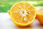 Sliced orange in close up shot — Stock Photo
