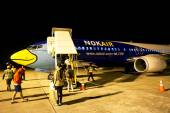 Ubonratchathani, THAILAND - December 20 2014: HS-DDK Boeing 737-400 of NokAir airline ( Low-cost Airline), Photo at Ubonratchathani Airport, thailand. — Stock Photo