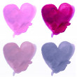 Watercolor hand painted hearts. With stroke brush texture — Stock Photo #62695161