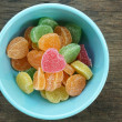 Fruit jellies candy hearts in bowl — Stock Photo #64417913
