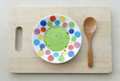 Dirty Plate, Spoon on wooden plate.Top View Text Space — Stock Photo