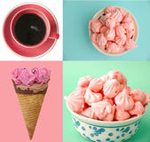 Pastel colored ice cream, coffee and meringue collage — Stock Photo