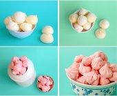 White and pink meringue set — Stock Photo