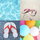 Collage of four pictures of sandal beach, colorful balloons and blue ripple water (Summer concept) — Stock Photo