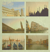 Collage of Italy famous place, in vintage tone on cement wall texture. — Stock Photo