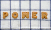 "Alphabet Biscuits ,word "" POWER "" — Stock Photo"