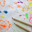 Children's drawing water color paints — Stock Photo #72399899