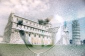Italy, Pisa, the leaning tower in rainy day with draw heart on wet glass — Stock Photo