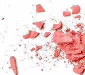 Makeup cheeks and eye. Pink Cosmetic powder on white — Stock Photo