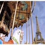 Eiffel Tower and vintage carousel, Paris, France. Retro style — Stock Photo #82710234