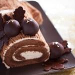 Traditional Christmas Yule Log cake — Stock Photo #51843357