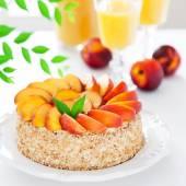 Cake with fresh nectarines — Stock Photo
