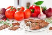 Flax seed and vegetables crackers — Stock Photo
