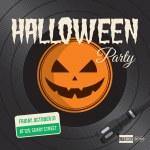 Halloween party poster, vinyl illustration — Stock Vector