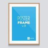 Шаблон макет плаката с деревянной рамкой — Cтоковый вектор