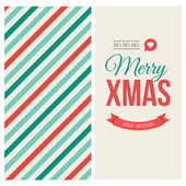 Merry Christmas card with pattern and label — Stock Vector