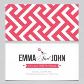Wedding card back and front with pattern background 02 — Stock Vector